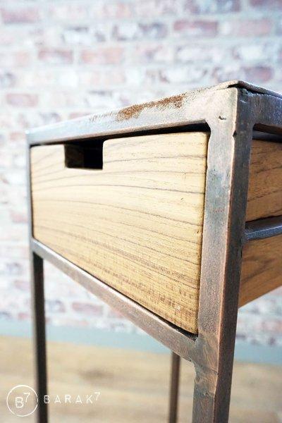 Table d'appoint industrielle bronze KUBIC