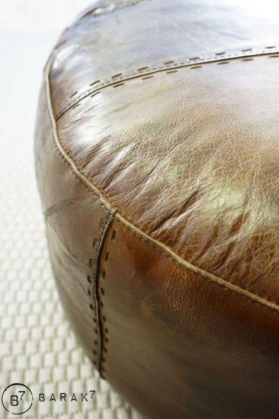 Pouf rond en cuir Patchwork