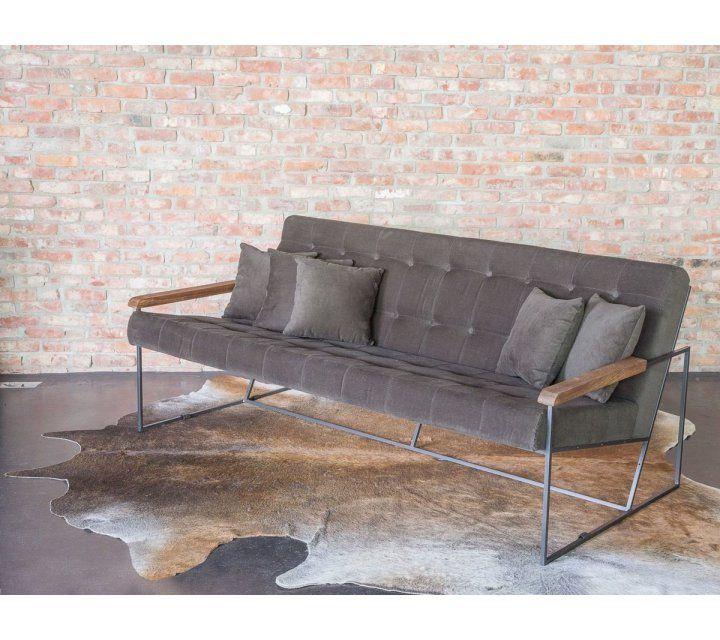 Vintage drie zit sofa kaki stof