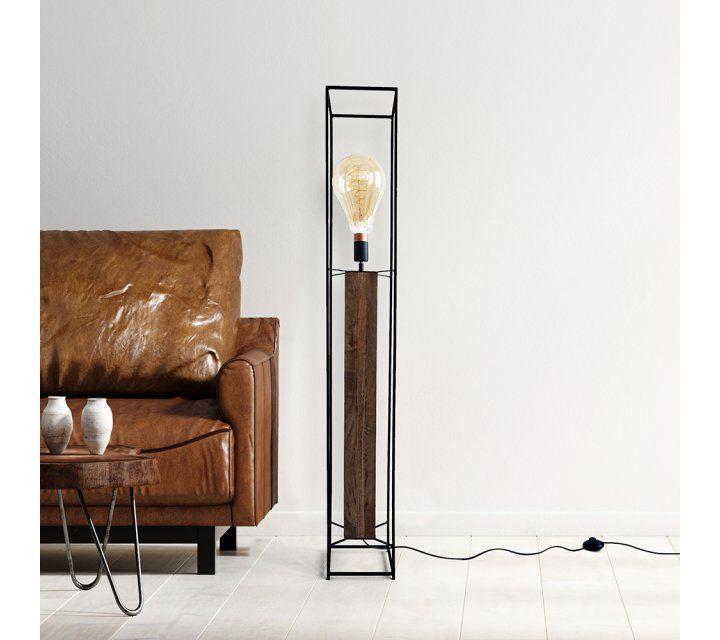Industriële staande lamp hout en metaal 140 cm - Totem